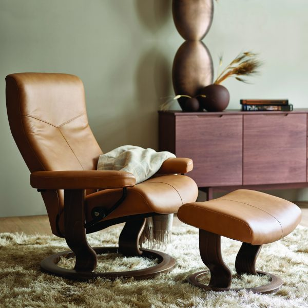 Stressless Dover Classic Recliner and Ottoman in a Living Room