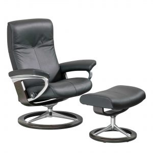 Stressless Dover Signature Recliner and Ottoman in Paloma Black Leather and Wenge Wood Base