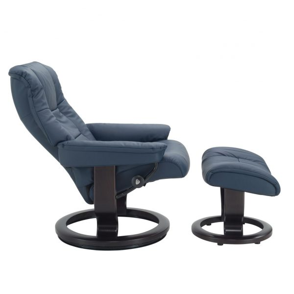 Stressless Mayfair Classic Recliner in Sparrow Blue with Wenge Wood Base, Reclined