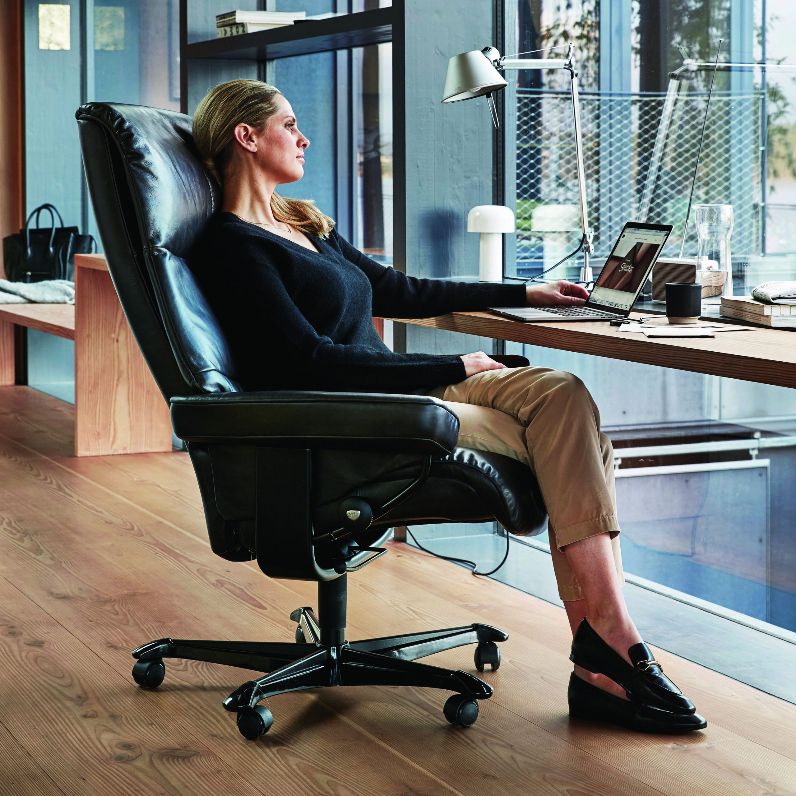 Stressless Office Chair and Lady