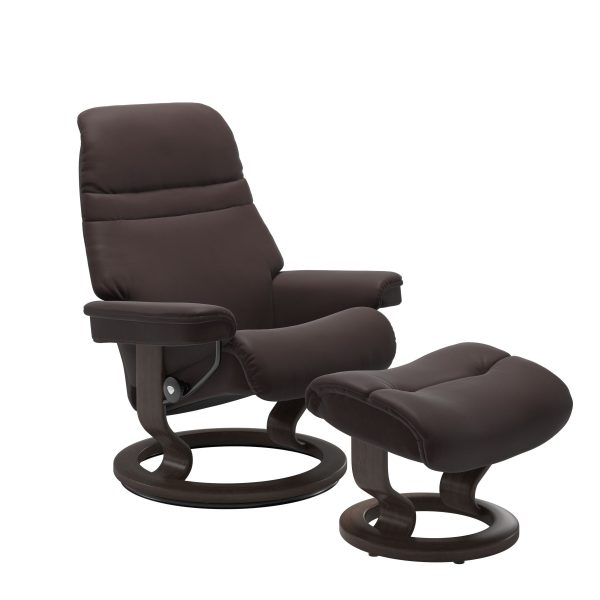 Stressless Sunrise Classic Recliner and Ottoman in Paloma Chocolate with a Wenge Base