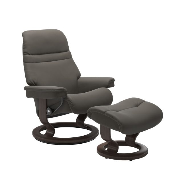 Stressless Sunrise Classic Recliner and Ottoman in Paloma Metal Grey with a Wenge Base
