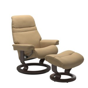 Stressless Sunrise Classic Recliner and Ottoman in Paloma Sand with a Wenge Base