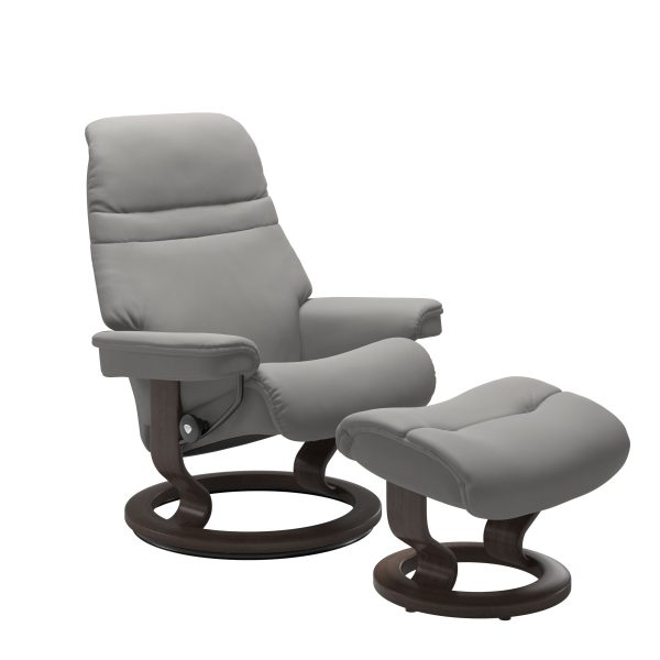 Stressless Sunrise Classic Recliner and Ottoman in Paloma Silver Grey with a Wenge Base