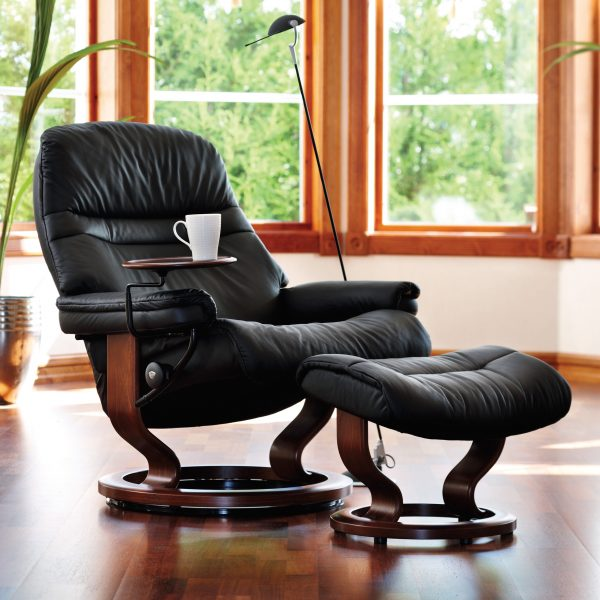 Stressless Sunrise Classic Recliner and Ottoman in Paloma Black with a Walnut Base and Swing Table