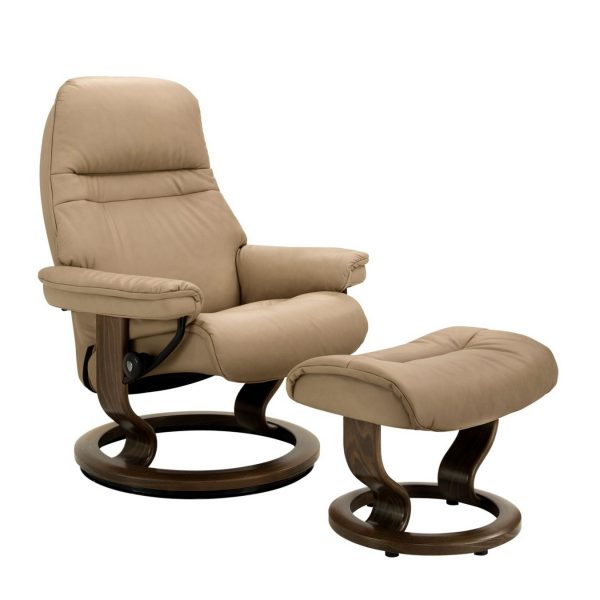 Stressless Sunrise Classic Recliner and Ottoman in Paloma Sand with a New Walnut Base