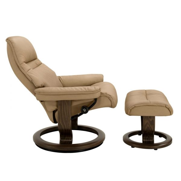 Stressless Sunrise Classic Recliner and Ottoman in Paloma Sand with a New Walnut Base, Side Reclined View