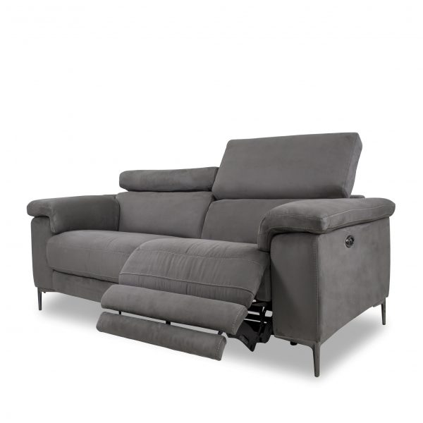 Wallace Loveseat in Maldives Dark Grey Fabric, Reclined