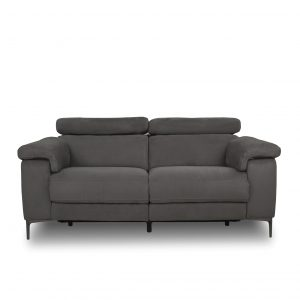 Wallace Loveseat in Maldives Dark Grey Fabric, Front, Headrest Down