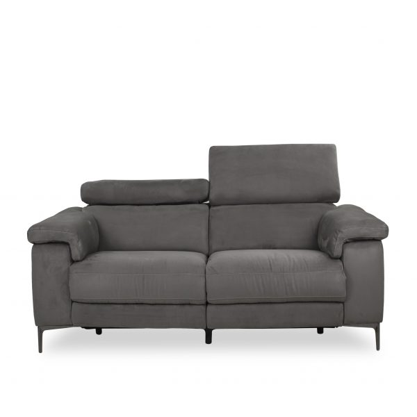 Wallace Loveseat in Maldives Dark Grey Fabric, Front, Headrest Up