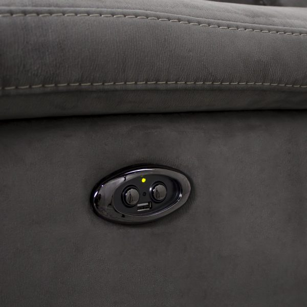 Wallace Loveseat in Maldives Dark Grey Fabric, Buttons