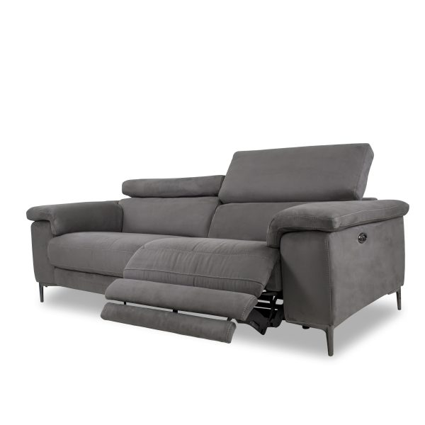 Wallace Sofa in Maldives Dark Grey Fabric, Reclined
