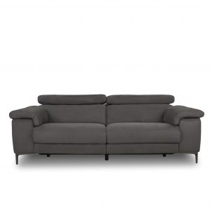 Wallace Sofa in Maldives Dark Grey Fabric, Front, Headrest Down