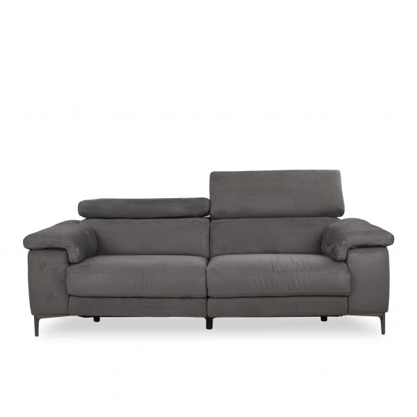 Wallace Sofa in Maldives Dark Grey Fabric, Front, Headrest Up