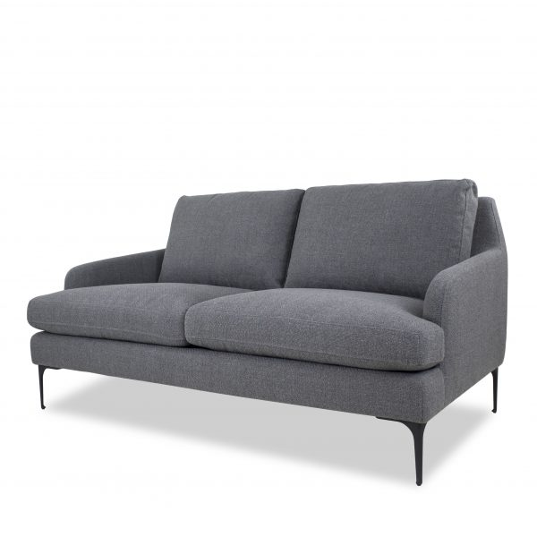 Wallis Loveseat in Grey Fabric, Angle