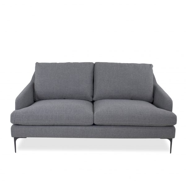 Wallis Loveseat in Grey Fabric, Front