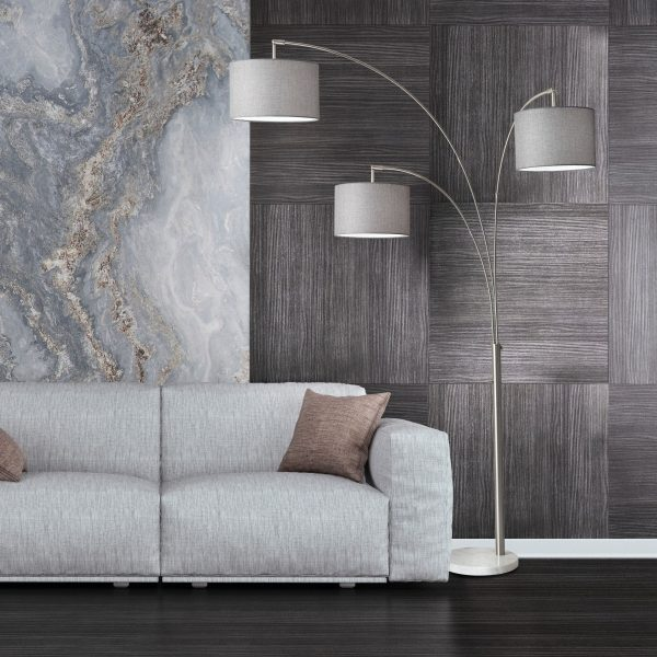 Bowery 3-Arm Arc Floor Lamp in Living Room