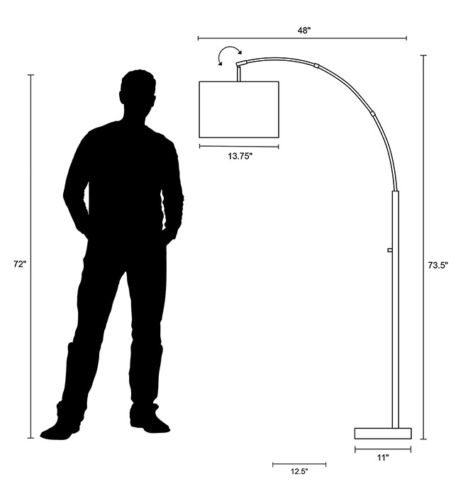 Bowery Arc Floor Lamp Dimensions
