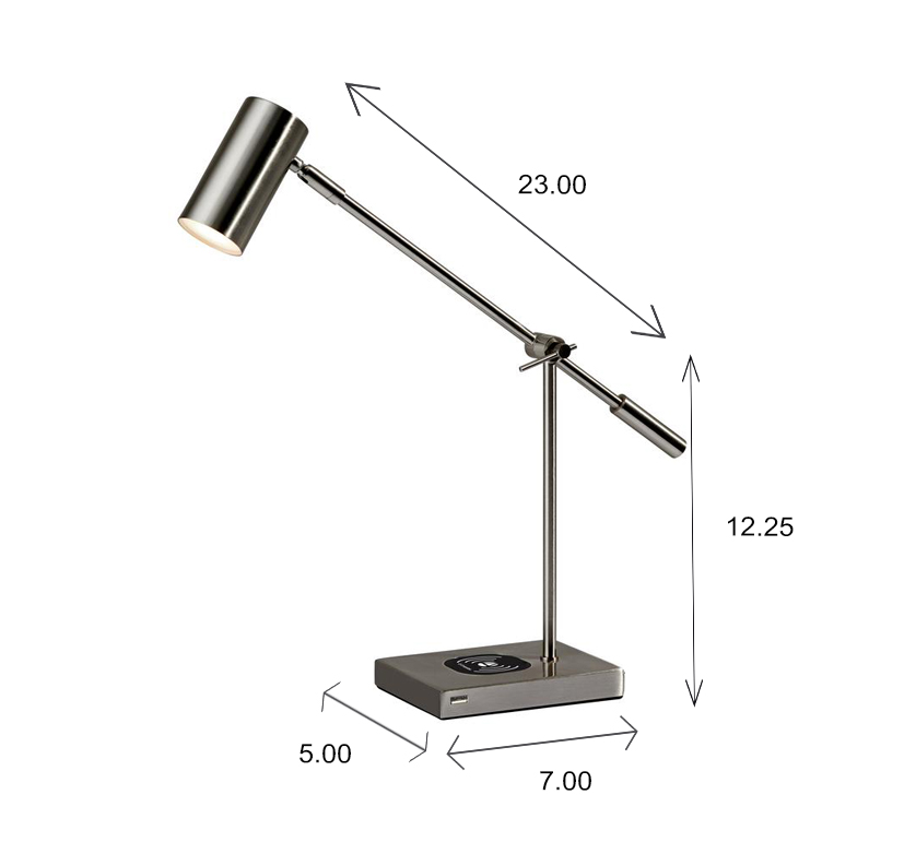 Collette LED Desk Lamp Dimensions