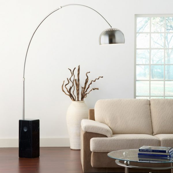 FL158B Floor Lamp with a Black Marble Base in Living Room