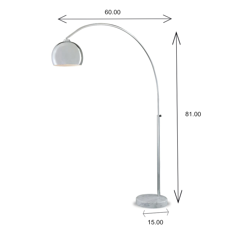 FL158T Floor Lamp Dimensions