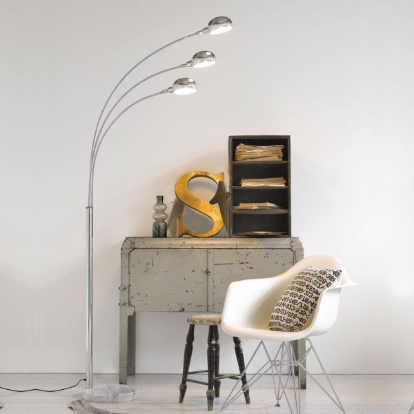 FL160/3 Floor Lamp with a White Marble Base on Display