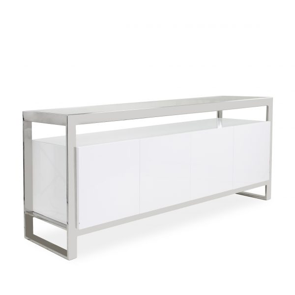 Miami Sideboard in White Lacquer, Angle