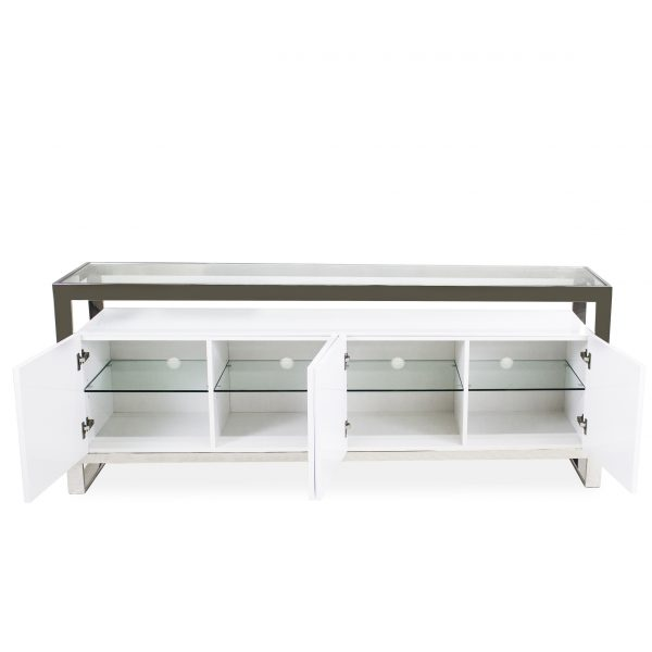 Miami Sideboard in White Lacquer, Open Doors
