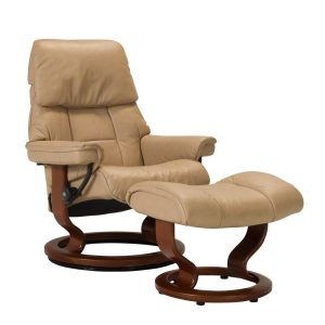Stressless Ruby Classic Recliner and Ottoman in Paloma Sand with a Walnut Wood Base