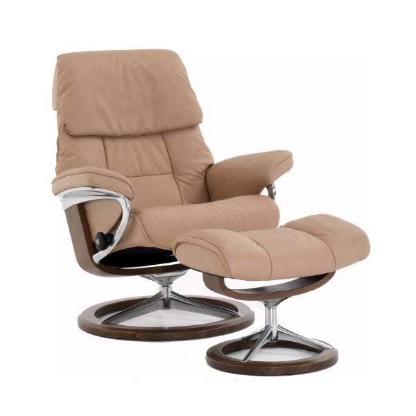 Stressless Ruby Signature Recliner and Ottoman in Paloma Sand with a New Walnut Base