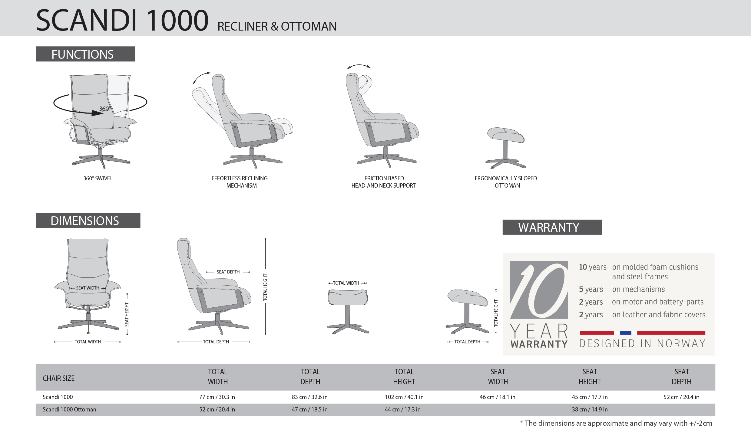 IMG Scandi 1000 Recliner Dimensions
