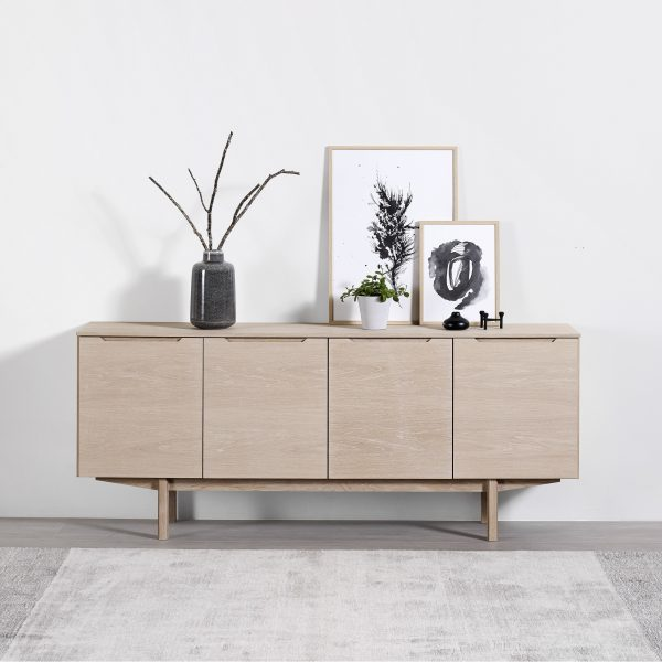 Skovby SM306 Sideboard against wall, White Oak