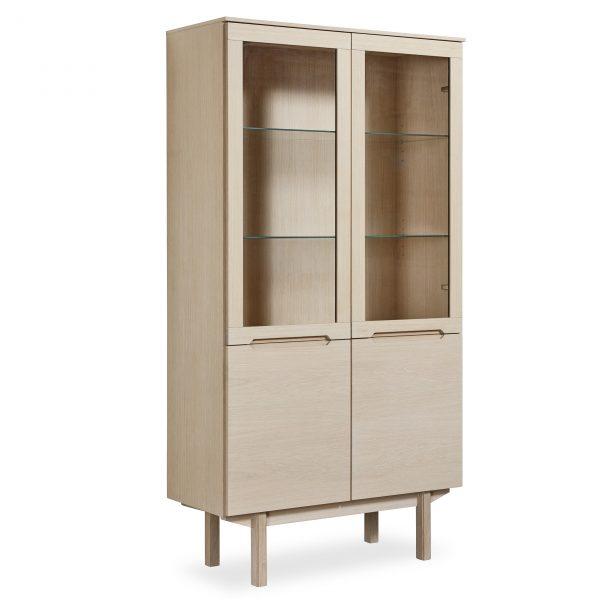 Skovby SM307 Display Cabinet, White Oak, Angle
