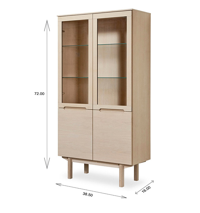 Skovby SM307 Display Cabinet Dimensions