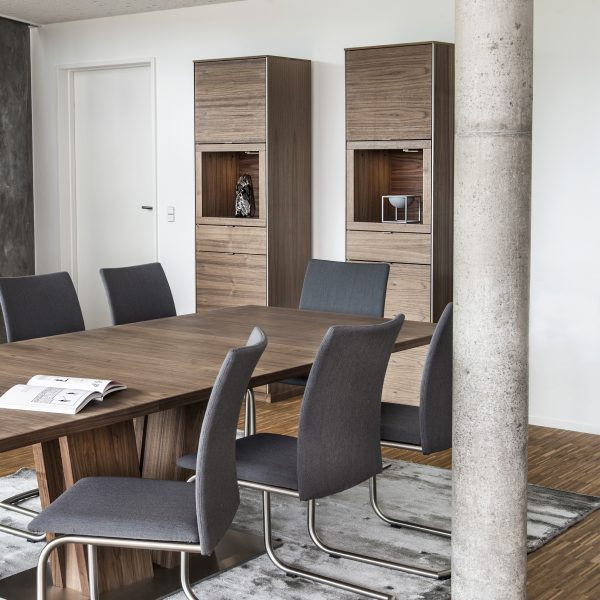 Pair of Skovby SM914 Display Cabinets in Oiled Walnut in Dining Room