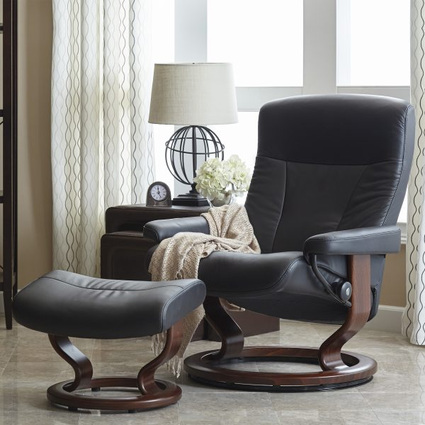 Stressless President Classic Recliner and Ottoman in Paloma Black Leather with a Walnut Base