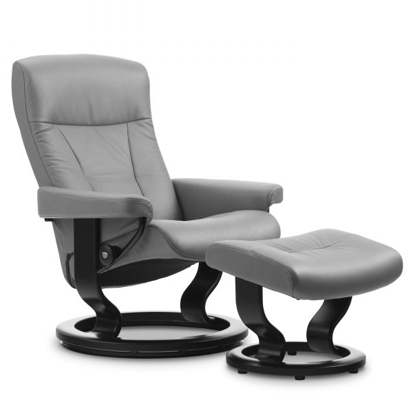Stressless President Classic Recliner and Ottoman in Paloma Silver Grey Leather with a Black Base
