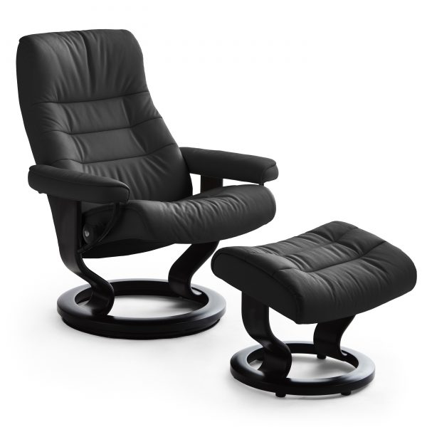 Stressless Opal Classic Recliner and Ottoman in Paloma Black with a Black Base