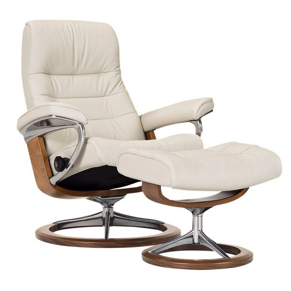 Stressless Opal Signature Recliner and Ottoman in Paloma Light Grey with a New Walnut Wood Base