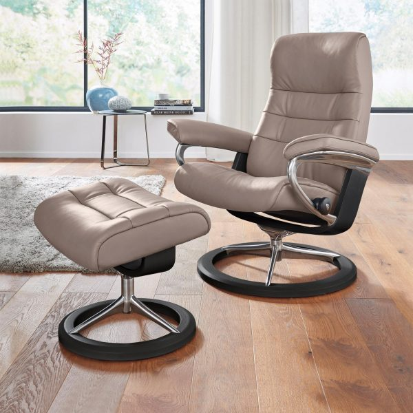 Stressless Opal Signature Recliner and Ottoman in Paloma Silver Grey with a Black Wood Base