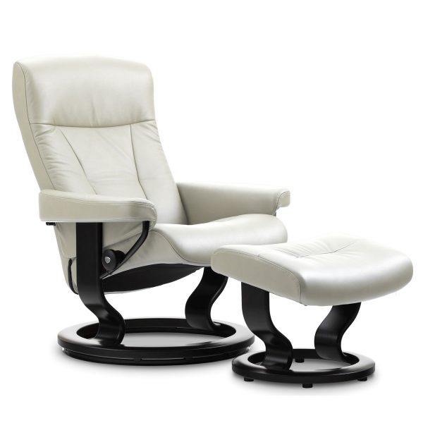 Stressless President Chair in Paloma Light Grey with a Black Base