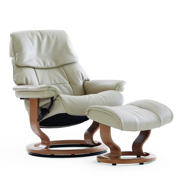 Stressless Ruby Classic Recliner and Ottoman in Light Grey Leather with a Teak Wood Base