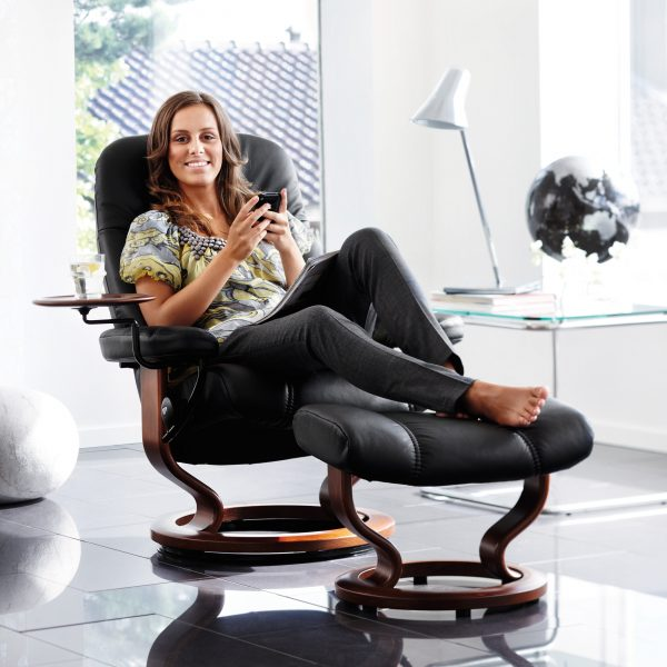 Stressless Swing Table with Cup and Lady in Recliner