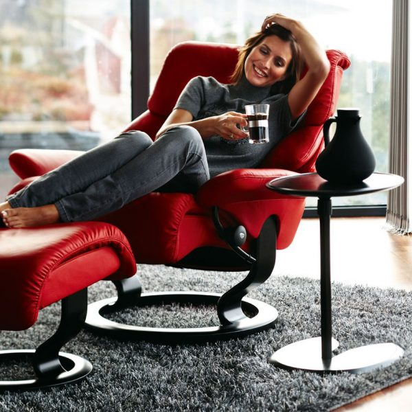Stressless Ellipse Table and Coffee Cup and Lady Reclined