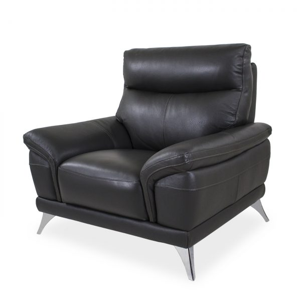 Florina Chair in Dark Grey Leather, Angle