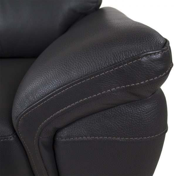 Florina Chair in Dark Grey Leather, Close Up