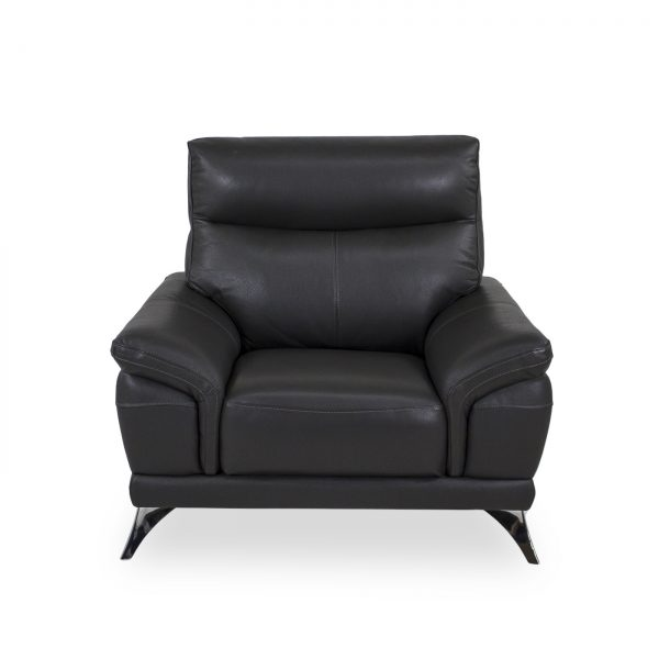 Florina Chair in Dark Grey Leather, Front