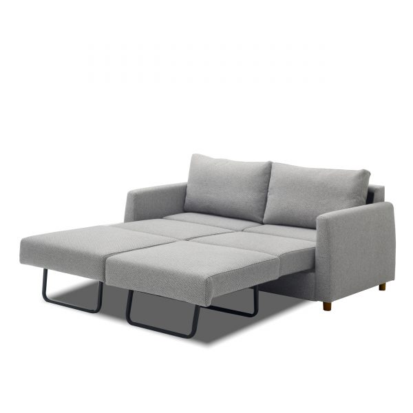 Nobel Sofabed in Light Grey Fabric, Full Open