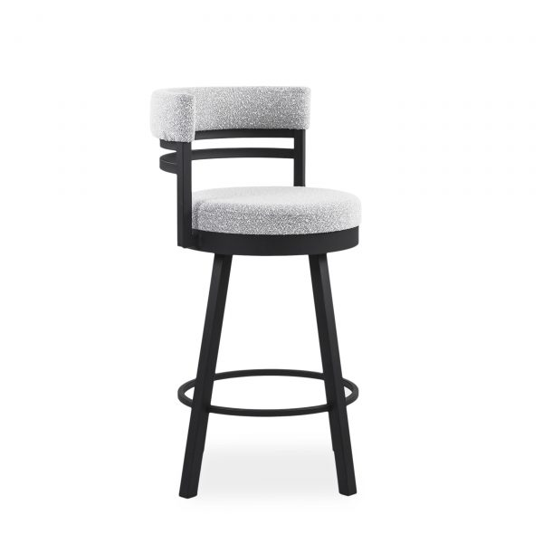 Ronny Swivel Stool in Merino and Black Coral, Angle, 2