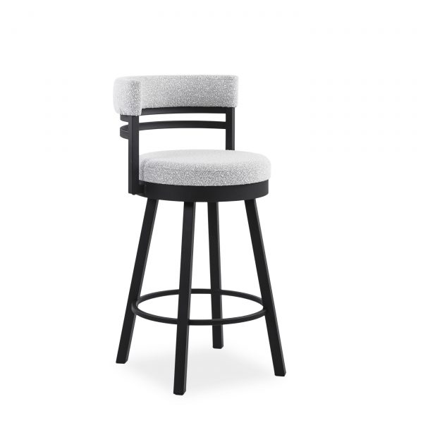 Ronny Swivel Stool in Merino and Black Coral, Angle